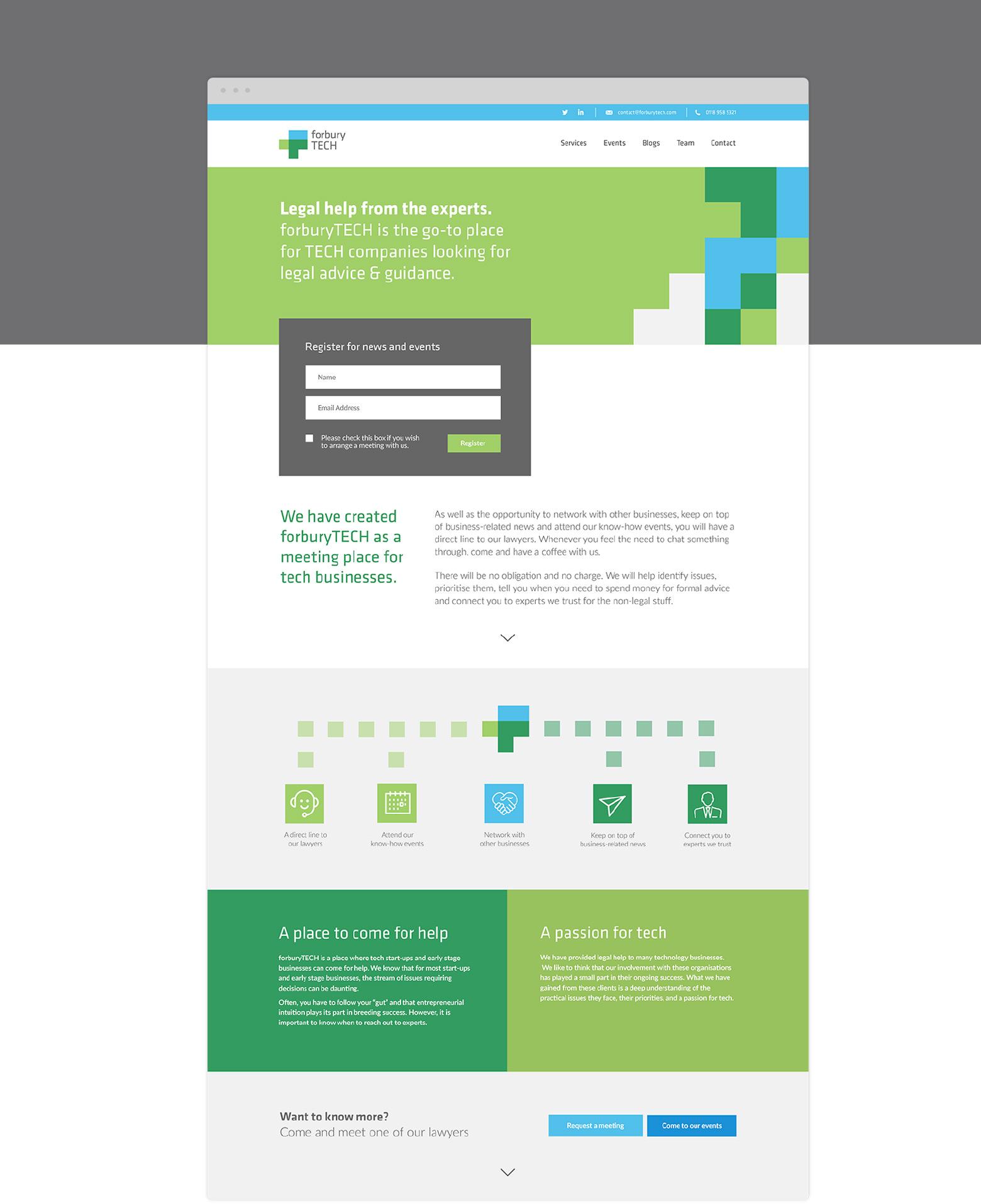 Forbury TECH webpage design