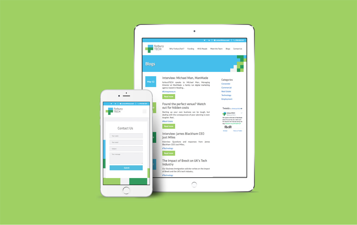 Forbury TECH website on Iphone and Ipad