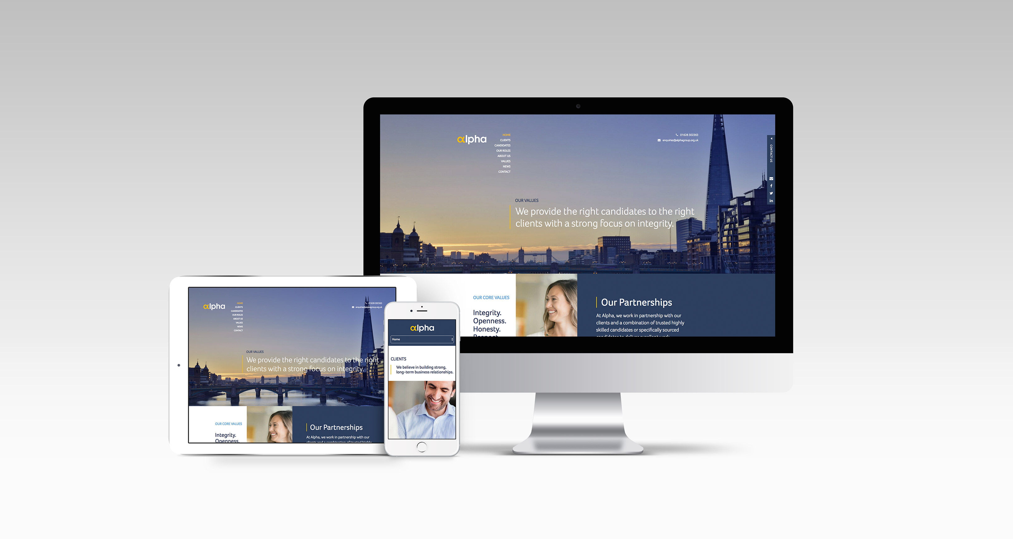 Alpha Website Design on three devices