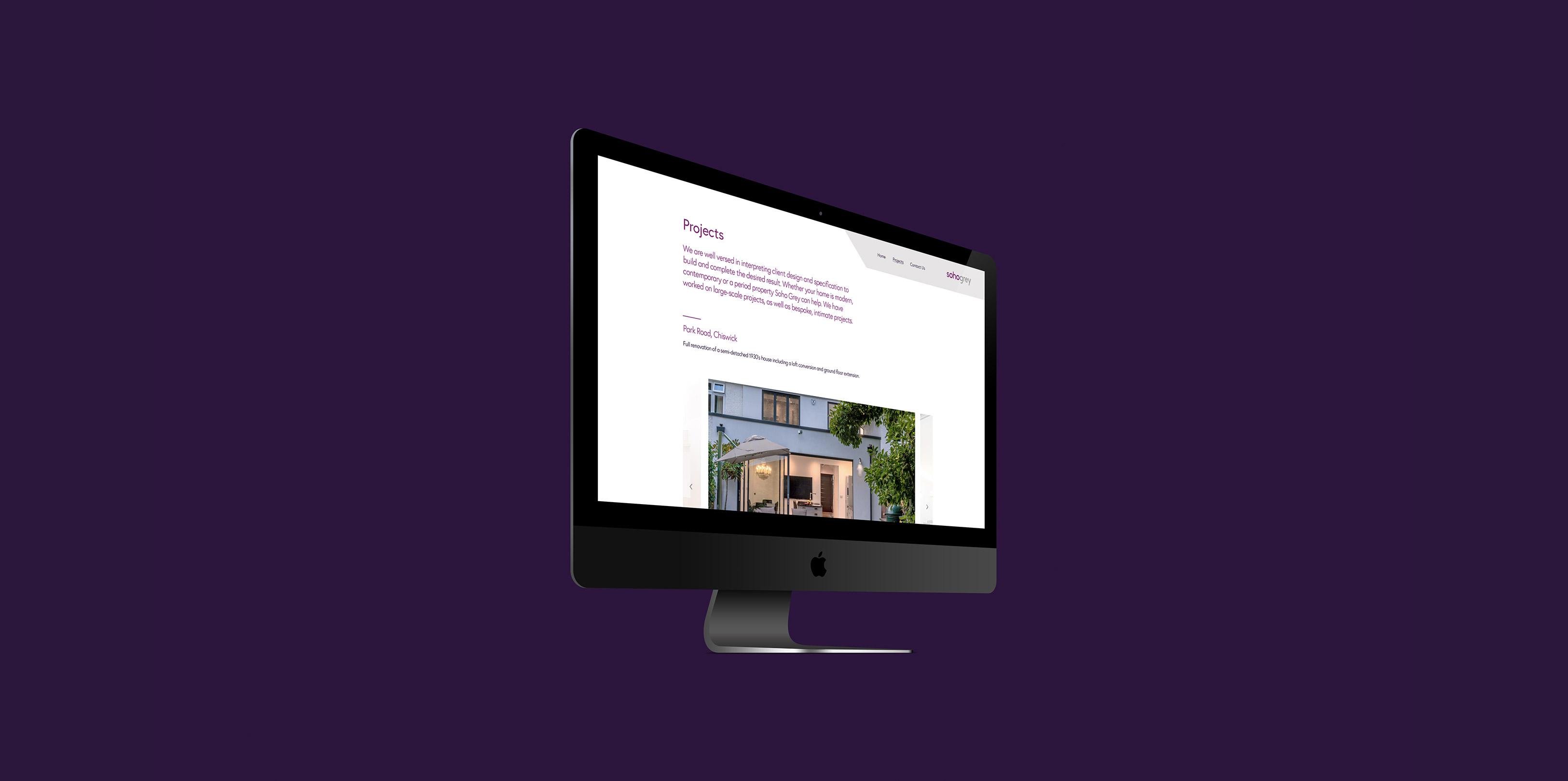 Soho Grey Website on Mac screen