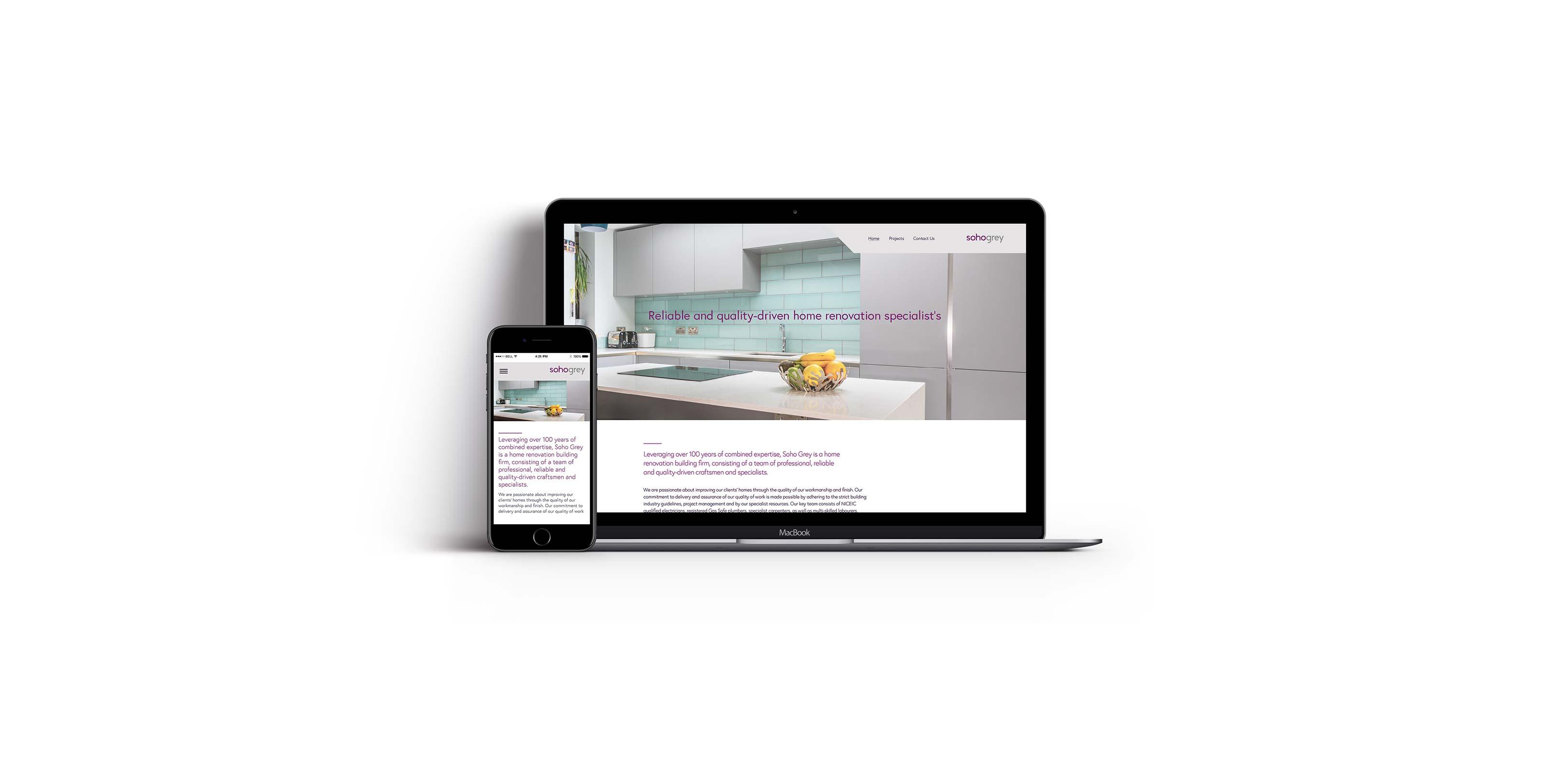 Soho Grey Website open on Mac and Iphone