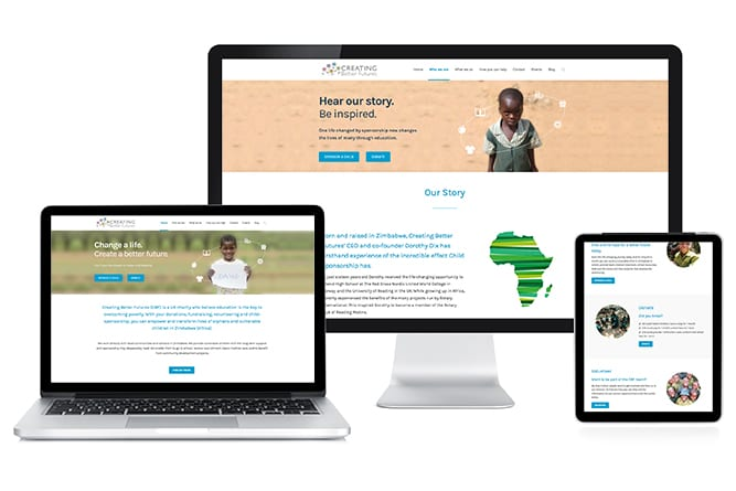 Creating Better Futures Website open on mobile mac and tablet