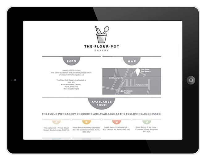 The Flour Pot website on Tablet