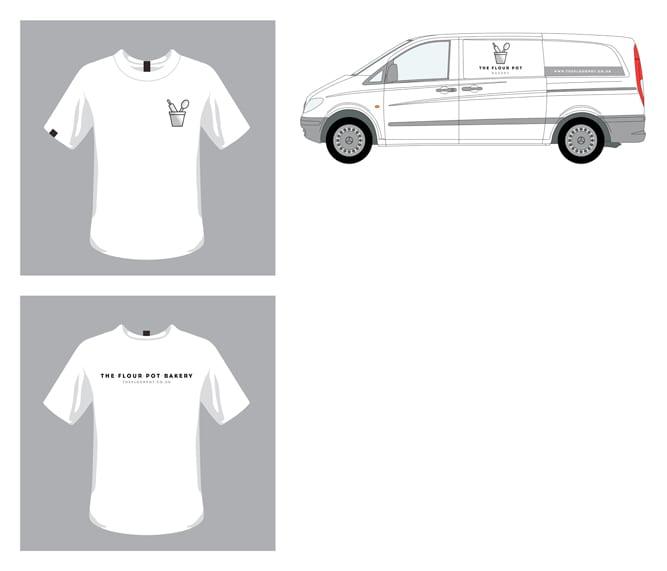 The Flour Pot T-shirt and Van logo