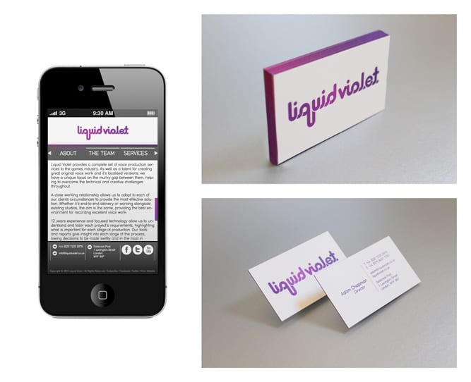 Liquid Violet mobile and business cards
