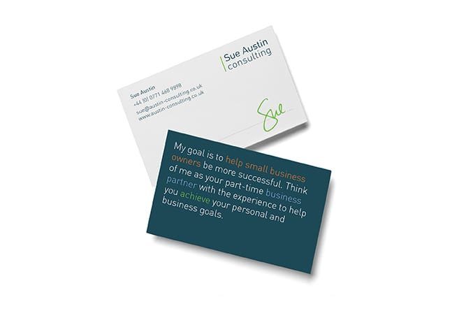 Sue Austin Consulting business card