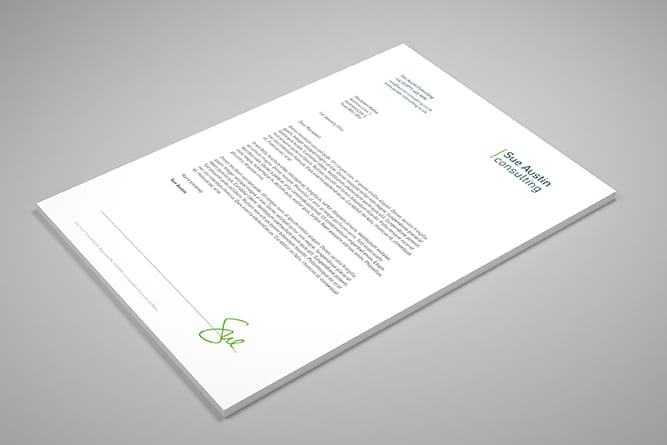 Sue Austin Consulting stationery