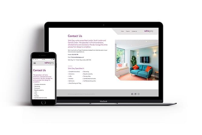 Soho Grey Laptop and Mobile website design