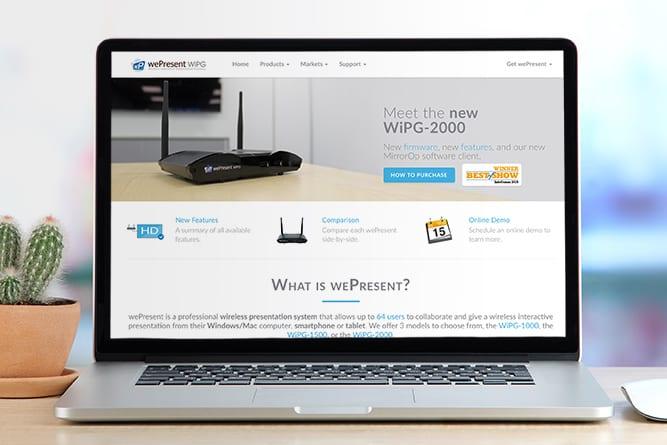 wePresent Website open on mac