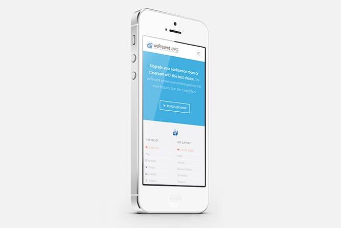 wePresent Website on mobile