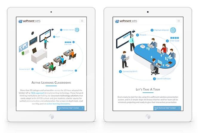 wePresent Website open on tablet