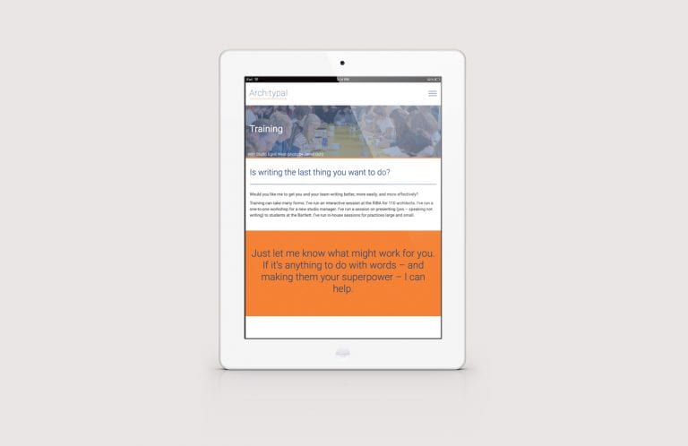 Architypal website on tablet