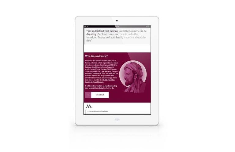 Avicenna Medical Recruitment website on Tablet