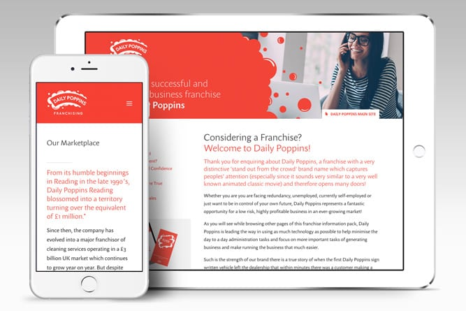Daily Poppins website on tablet and mobile