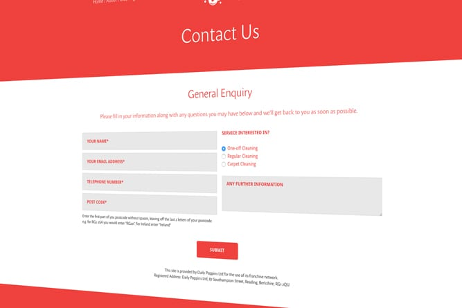 Daily Poppins Contact us page