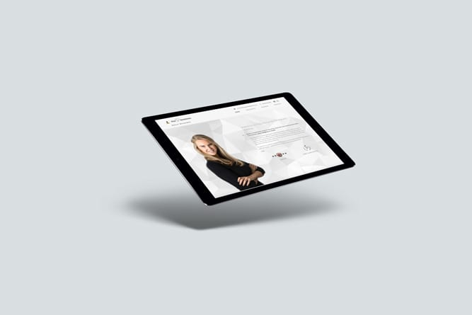 Holly Richards website on tablet
