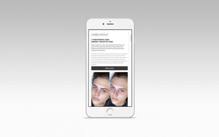 Holly Richards website on mobile