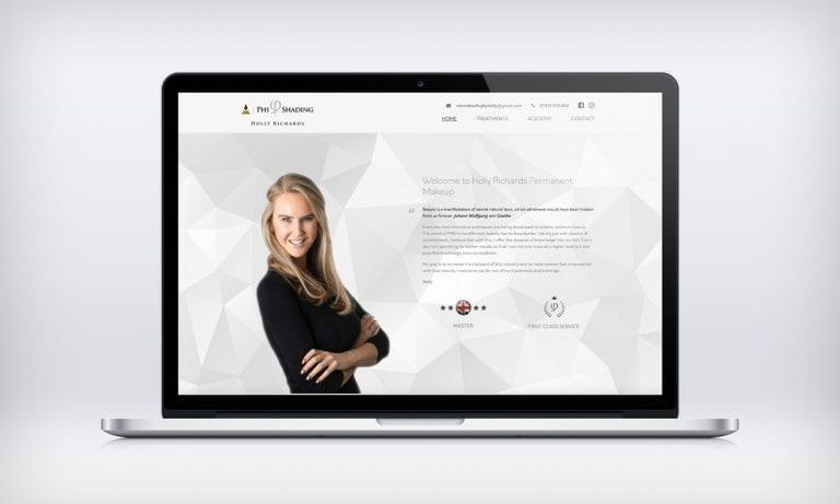Holly Richards website design on laptop