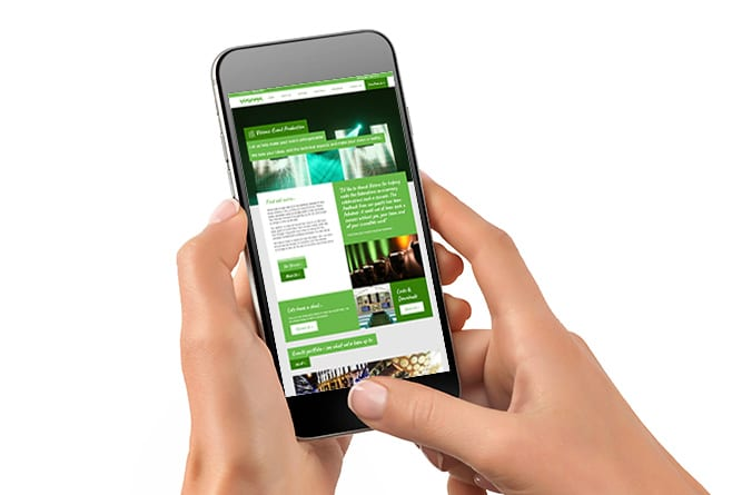 Visions Group website on mobile