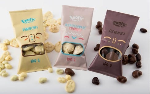 Exotic Snacks- Packaging with a transparent window
